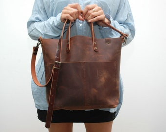 Oiled Leather tote  bag ,browm  distressed color,coñag  handles