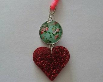 Red glittery heart phone charm