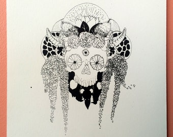 Summer Skull '16 : hand pulled screen print of skull and flowers