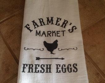 Fresh Eggs Flour Sack Dish Towel