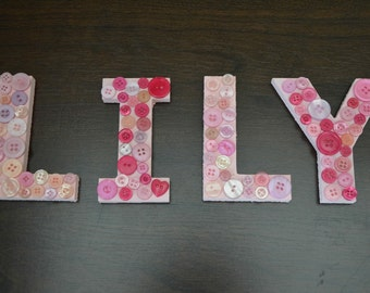 Personalised wooden button names