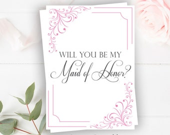 Maid of Honor Sign - 5x7 Instant Printable | Maid of Honor Wedding Sign - Wedding Signs | Will You Be My Maid of Honor Sign|Bridesmaid Sign