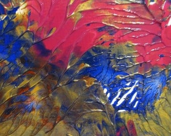 """The Garden Up Close I and II - A Pair of 6"""" x 4"""" Original Acrylic Monoprints"""