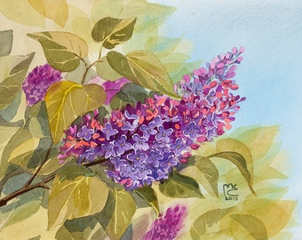 ORIGINAL. Watercolor. Lilac. Flowers.