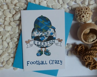 Everton Football Crazy Greeting card, EFC illustration, Card for Everton supporter, A6