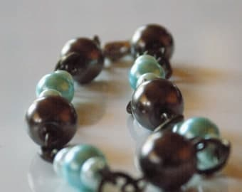 Blue and Brown Glass Pearl Bracelet
