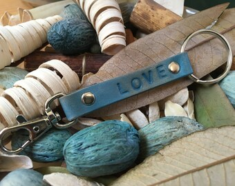 "Ready-to-Ship, Turquoise, Hand-Stamped, Vegetable-Tanned, Leather ""LOVE"" Key Fob, Key Ring, Key Chain, Purse Charm, Bag Charm"