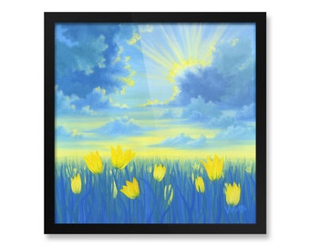 "Flower Landscape Painting, Fine Art, Yellow Tulips, Framed Print, 10x10"", 12x12"", 14x14"", 16x16"", 18x18"""