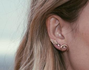 Crescent Moon Rhinestone Post Earring, Stud Earring