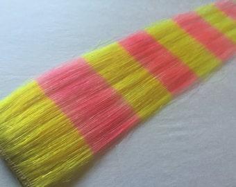 "13"" pink & yellow Human Hair Extension"