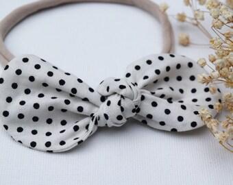 Polka Dot Bow - Baby Bow Headband - Baby Bows - Baby Hair Bows - Toddler Hair Bows - Hair Bows - Hair Accessories - Nylon Headbands