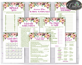 Games, Baby Shower Games, Watercolor Baby Shower Games, Baby Shower Watercolor Games Pink Green games deal, games package, games set - flp01
