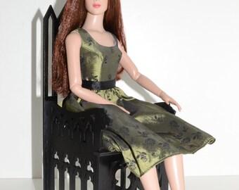 Gothic Throne for dolls 16-18 in Tonner BJD Furniture chair 1:4 wooden OOAK