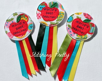 Teachers Rosette, gift, apples, thank you gift