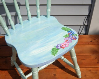 Hibiscus Painted Chair Re-purposed Re-used