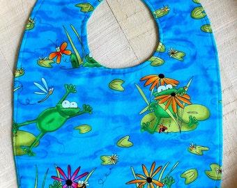 Whimsical Lilypad Frog Print Baby Bib