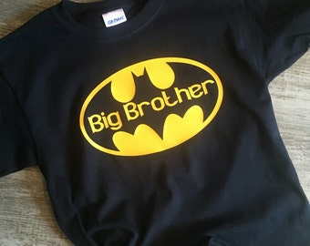 Big Brother shirt, black shirt with yellow batman design, toddler and youth sizes Big Sister shirt
