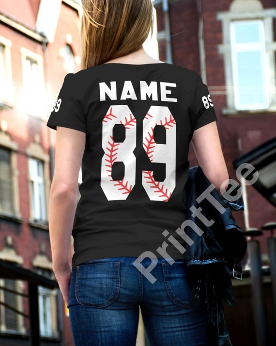 Baseball numbers t shirt custom front and back shirt by for Custom photo t shirts front and back