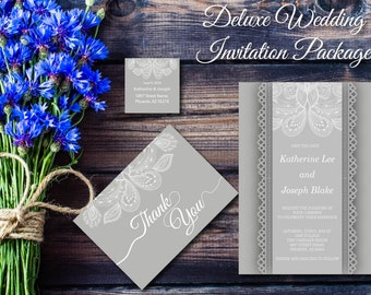 Gray Lace Wedding Invitation, Printable, Deluxe Elegant Floral Invite, RSVP, Silver, Template Instant Download, Editable PDF, Digital E32A