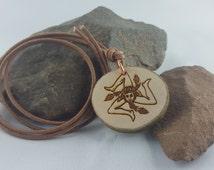 Trinacria wooden trailer - magic amulet - talisman runes Sicilia, Sicily, Trinacria