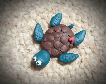 Loving turtle polymer clay magnet