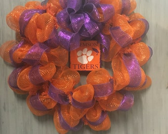 Clemson Tigers Wreath with Tile