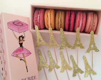 12 Glitter Paris Cupcake Toppers, Eiffel Tower Topper, Paris Baby Shower, Paris Cupcake Toppers, Eiffel Tower Cupcakes, Engagement Party
