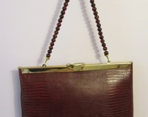 Etra Leather Handbag with Painted Glass Beads