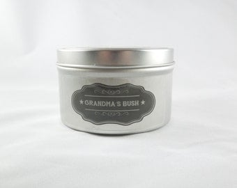 Lilac and Lily 8oz Soy Aromatherapy Candle: Grandma's Bush. Fun gift. Funny gift. Novelty gift.