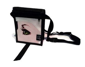 Junior white black eye shoulder bag