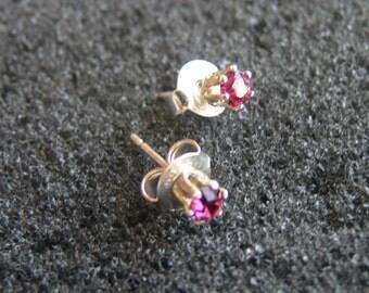 "Earrings-Swarovski 3 mm light ""fuchsia"" and Silver 925"