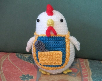 crocheted chicken with apron