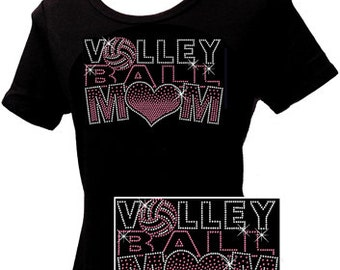 2016 Volleyball Mom - Rhinestone T-shirt