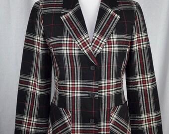 Vintage 1960s Women's Pendleton Plaid Blazer Sz 8