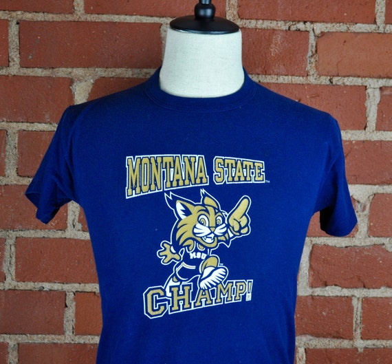 Montana State Bobcats Champ Navy Blue T Shirt Tee Youth Sz L Adult Sz XS