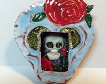 Shrine - Miniature Copper - Red Flower on White Skull