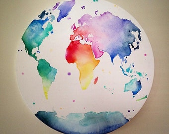World Map // Globe // Multicolour 'Globe Trotter' Hand Painted Canvas // Wall Art