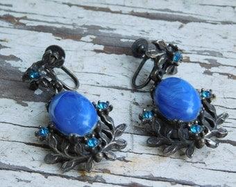 Knock Out Vintage Royal Blue Rhinestone Earrings