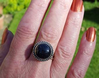 Goldstone and Sterling Silver Ring