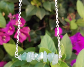 Elegant and Unique Healing Light Green Aventurine Gemstone Beaded Bar Necklaces with Chain and Clasp Closure