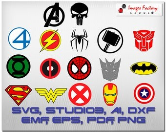 17 Super Heros Logos, Avengers, Punisher, Fantastic Four,  cuttable Cricut Design Space, Silhouette, Digital Cut Files, svg dxf studio3 png