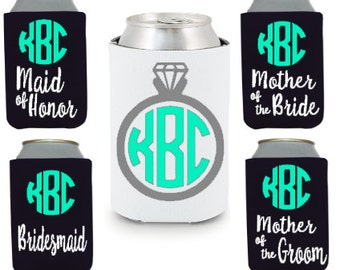 Monogrammed Wedding Party Can Coolers (Personalized Wedding Party Gifts)