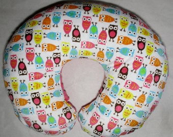 Minky Boppy Cover. Night Owl Nursing Pillow Cover. You choose the Dimple Dot back. Double Minky. Back is pictured with Fuschia Dimple Dot.