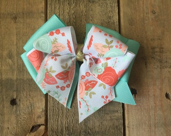 Coral, Mint, Gold, Hair bow