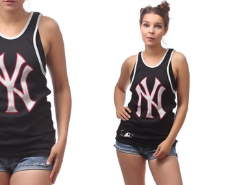 New York Yankees Baseball Tank Top 90s Relax Fit Black White Red Active Wear Outside Activity Sports Top Shirt Men Women Top Medium
