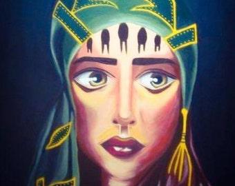 Turkish woman original acrylic painting