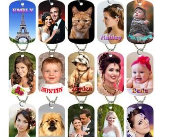 Personalized Custom Photo Dog Tag Jewelry,Free Necklace