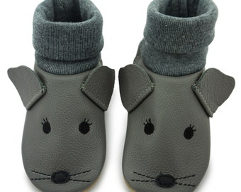 Baby shoes, leather sock mouse face LS10