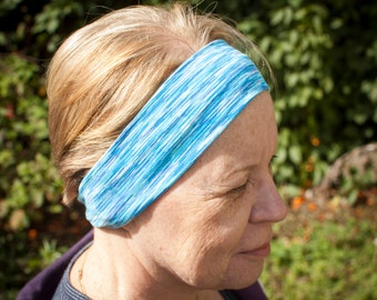 Wide blue space dyed headband, sweatband, crossfit headband, yoga headband, running headband
