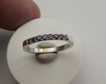 paved by hand 2mm AAA qual. purple czs. into sterling silver